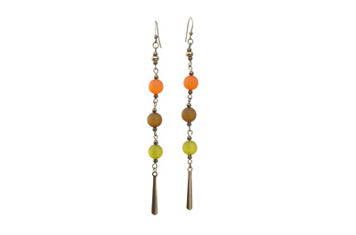 BOUCLES D'OREILLE polaris pendentif long orange vert marron bron