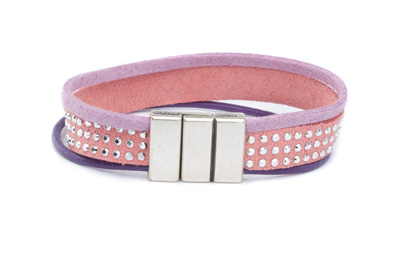 Bracelet suedine rivet 10mm rose