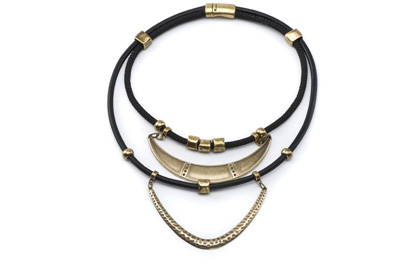COLLIER CUIR 5mm double rang bronze