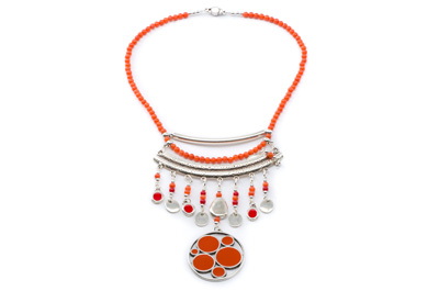 COLLIER PENDENTIF EMAILLE orange