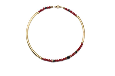 COLLIER TUBE ROND  bronze bordeaux