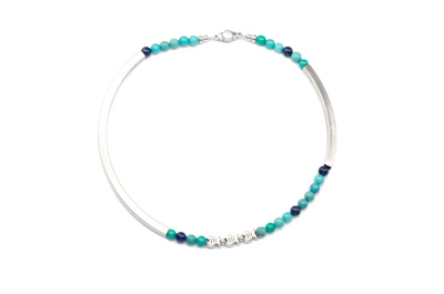 COLLIER TUBE CARRE  argenté aqua