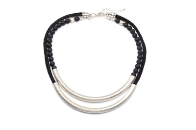 COLLIER TUBE STRIE CORDE POLY noir