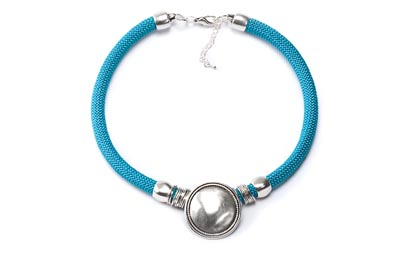 COLLIER CORDE MEDAILLE turquoise