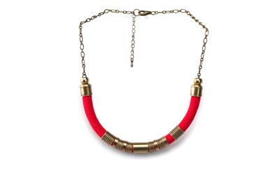 COLLIER SIMPLE CORDE rouge