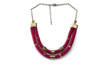 COLLIER CORDE DOUBLE bordeaux