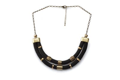 COLLIER CORDE DOUBLE noir