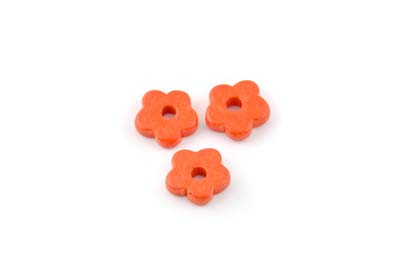 fleur céramique matte 15mm orange corail  x1pc