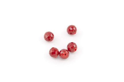 perle ronde à facette 8mm rouge carmin x10pcs