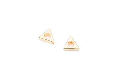 perle triangle 11mm doré x1pc