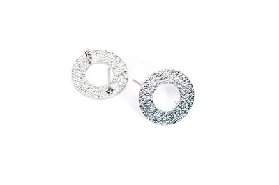 clous d'oreilles laiton rond 16mm rhodium x2pcs