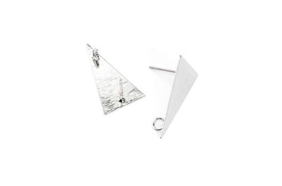 clous d'oreilles laiton triangle 13*23mm rhodium x2pcs