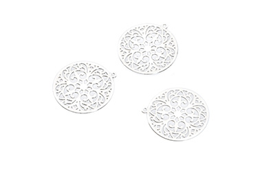laser cut rond 20mm rhodium  x1pc