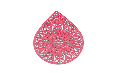 laser cut goutte 49x39mm rouge x1pc
