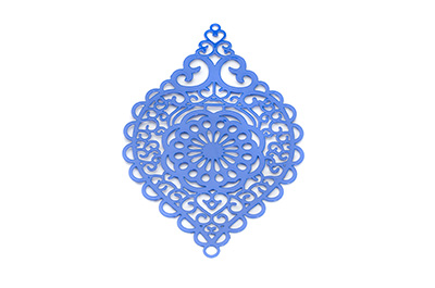 laser cut rhombus 58x38mm bleu  x1pc
