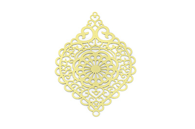laser cut rhombus 58x38mm jaune x1pc
