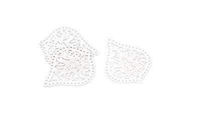 laser cut goutte 25x21mm rhodium  x1pc