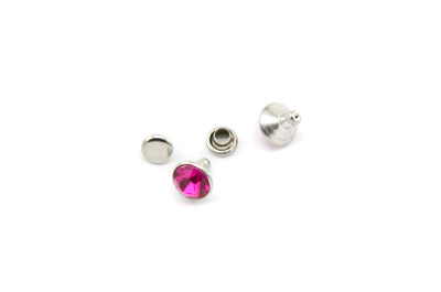 rivet à clipser 8mm fuchsia x1pc