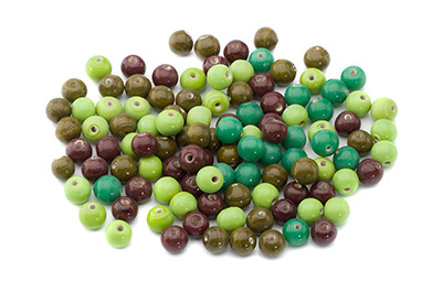 mix de perles: ronde 8mm marron vert 100gr