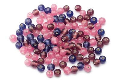 mix de perles: ronde 8mm mauve rose 100gr