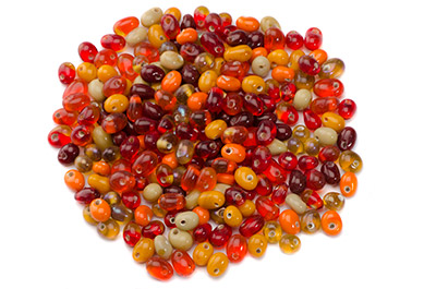 mix de perles: gouttes rouge orange 100g