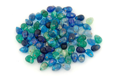 mix de perles: gouttes 15mm teal brillant 100g
