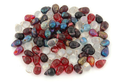 mix de perles: gouttes 15mm améthyste brillant 100g