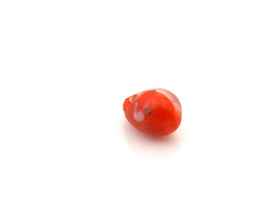perle fleur goutte 8mm rouge brillant  x1pc