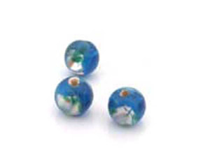 perle fleur 8mm bleu teal brillant   x1pc