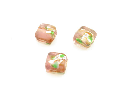perle fleur carré 9mm rose brillant   x1pc