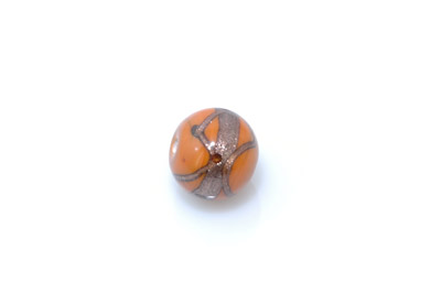 perle golden ronde 15mm orange x1pc