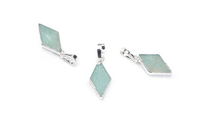 pendentif amazonite losange 9X16mm,Silver Color x1pce