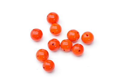 perle magnésite orange ronde 8mm  x10pcs