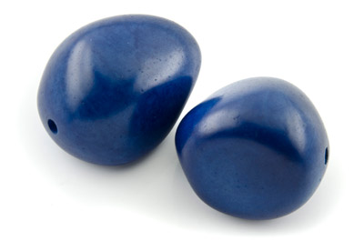 tagua graine  environ 40mm bleu royal x1pc