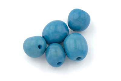 tagua ronde environ 20mm turquoise x1pc