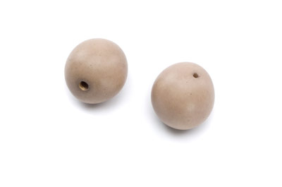 tagua ronde environ 20mm gris taupe x1pc