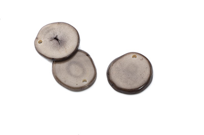 tagua sequin environ 20mm gris  x1pc
