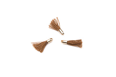 pompon 12mm marron embout doré  x1pc