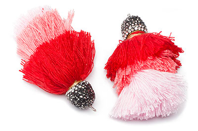 pompon 3 couleurs 65mm rouge rose x1pce