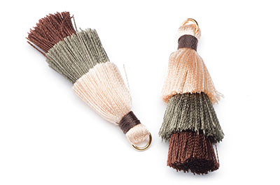 pompon 3 couleurs beige marron env 40mm x1pce