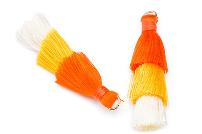 pompon 3 couleurs orange safran env 40mm x1pce