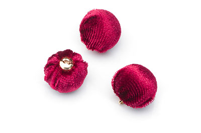 pompon velours 15mm rouge bordeaux x1pce