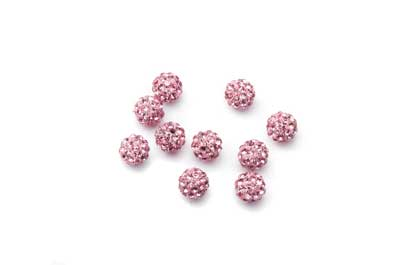 perle shamballa 6mm rose x1pc