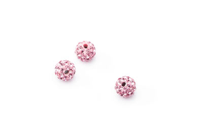 perle shamballa 8mm rose x1pc