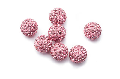 perle shamballa 12mm rose x1pc