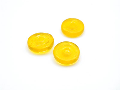 perle rondelle 10mm jaune brillant x1pc