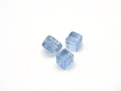 perle cube 5mm bleu gris brillant x10pcs